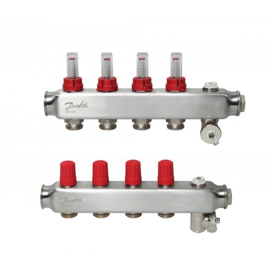 К-т колектори от неръждаема стомана с дебитомери, 4+4 Danfoss
